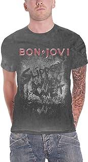 Bon Jovi T Shirt Slippery When Wet Band Logo 新しい 公式 メンズ Vintage Wash