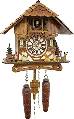 Cuckoo-Palace German Cuckoo Clock - Blackforest Hillside Chalet with Wonderful Animals with Quartz Movement