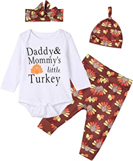 Baby Boys Girls 4PCS Daddy Mommy's Little Turkey Cute Outfit Clothes Set Thanksgiving Romper