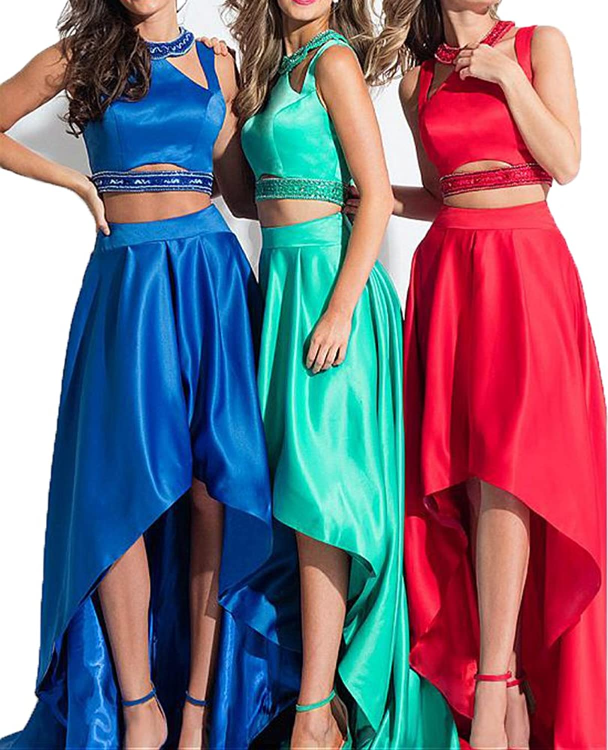 Chenghouse Satin 2 Piece Prom Dresses 2018 High Low Prom Dress