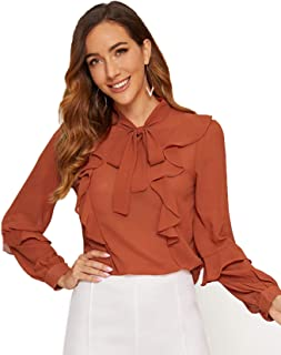 Milumia Women's Long Sleeve V Neck Lace Pleated Casual Flare Tunic Blouse Shirt