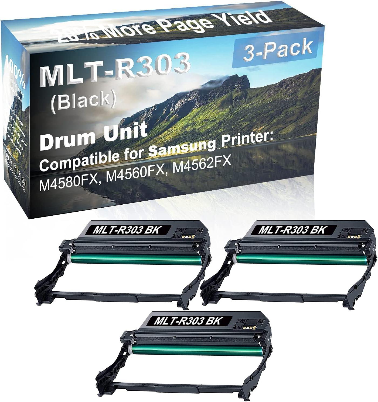 3-Pack (Black) Compatible M4580FX, M4560FX, M4562FX Printer Drum Unit Replacement for Samsung MLT-R303 Drum Kit