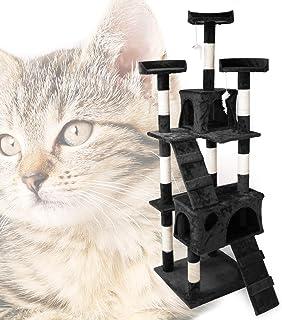 Wiltec Kattträd svart 170 cm med utsiktsplattformar, katthus och stegar
