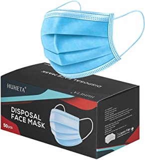 50 Pcs Disposable Face Mask 3-Ply Breathable & Comfortable Filter Safety Mask, Protective Dust Masks for Indoor and Outdoo...