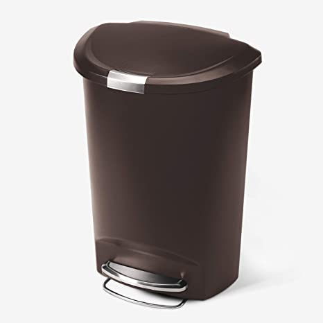 Amazon Com Simplehuman 50 Liter 13 Gallon Semi Round Kitchen Step Trash Can Mocha Plastic With Secure Slide Lock Home Kitchen