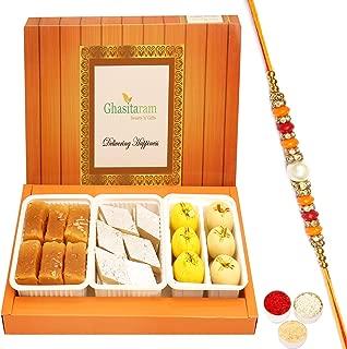 Ghasitaram Gifts Indian Sweets - Rakhi for Brother Assorted Box of Kaju Katli, Mawa Peda and Mysore Pak with Pearl Diamond Rakhi