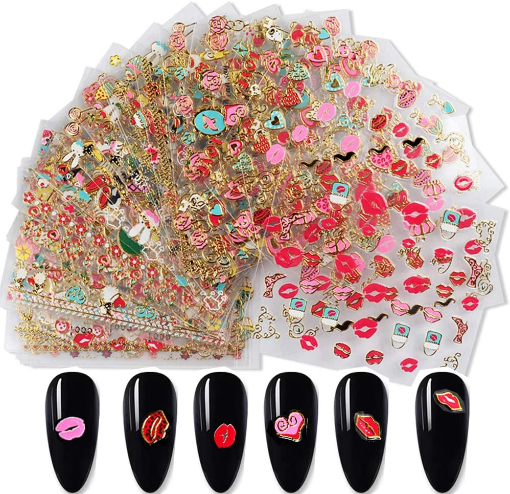 Letswin 30 Sheets Valentines Day Year-end gift Decals Nail Art Valent Stickers Daily bargain sale