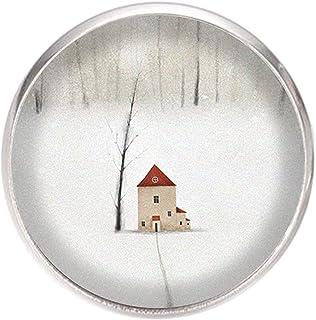 Spilla con perno in acciaio inossidabile, diametro 25 mm, spillo 0,7 mm, Fatto a Mano, Illustrazione Paesaggio invernale 2