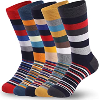 RoyalCase Men's 5-pack Socks Striped, Moisture Wicking Extra, Heavy Cushion Funky Fun, Colorful Patterned