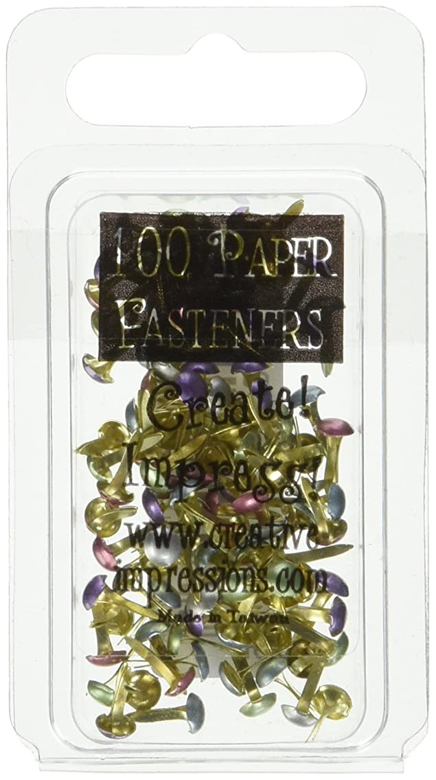 CREATIVE IMPRESSIONS Mini Painted Metal Paper Fasteners 100/Package, Assorted Pearl Round fgauomc67