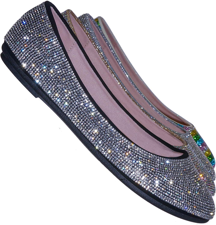 Aquapillar Sacramento Mall Rhinestone Crystal Embellished Ballet - OFFicial T Round Flats