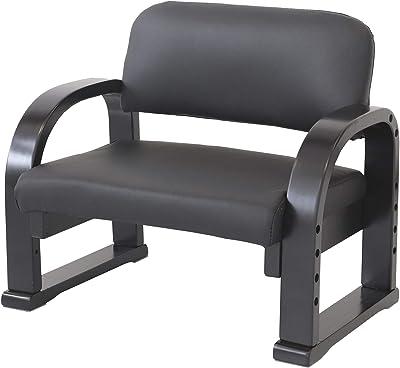 ヤマソロ(Yamasoro) 座椅子 ブラック 幅56.5×奥行42.5×高さ49cm テレビ鑑賞用 ロータイプ 83-940