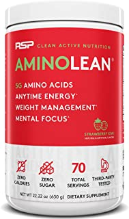 RSP AminoLean - All-in-One Pre Workout, Amino Energy, Weight Management Supplement with Amino Acids, Complete Preworkout Energy for Men & Women, Strawberry Kiwi, 70 (Packaging May Vary)