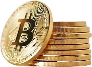 10 Pcs Bitcoin Coin Souvenir with Coin Case, Physical Bitcoin Collection, Gold Plated Bitcoin for Commemoration, Crypto Cu...