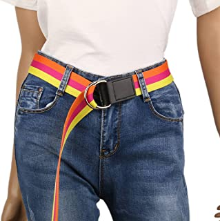 Damara Women Fashion Width Multicolor Canvas Belt With Metal Tip