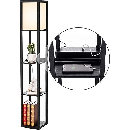 PROMECITY Lampe à Poser avec Port de Chargement USB, étagères de Rangement dans la Tour pour la Chambre à Coucher, Lampe sur Pied Moderne et Veilleuse