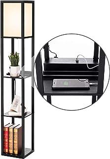 PROMECITY Lampe à Poser avec Port de Chargement USB, étagères de Rangement dans la Tour pour la Chambre à Coucher, Lampe s...