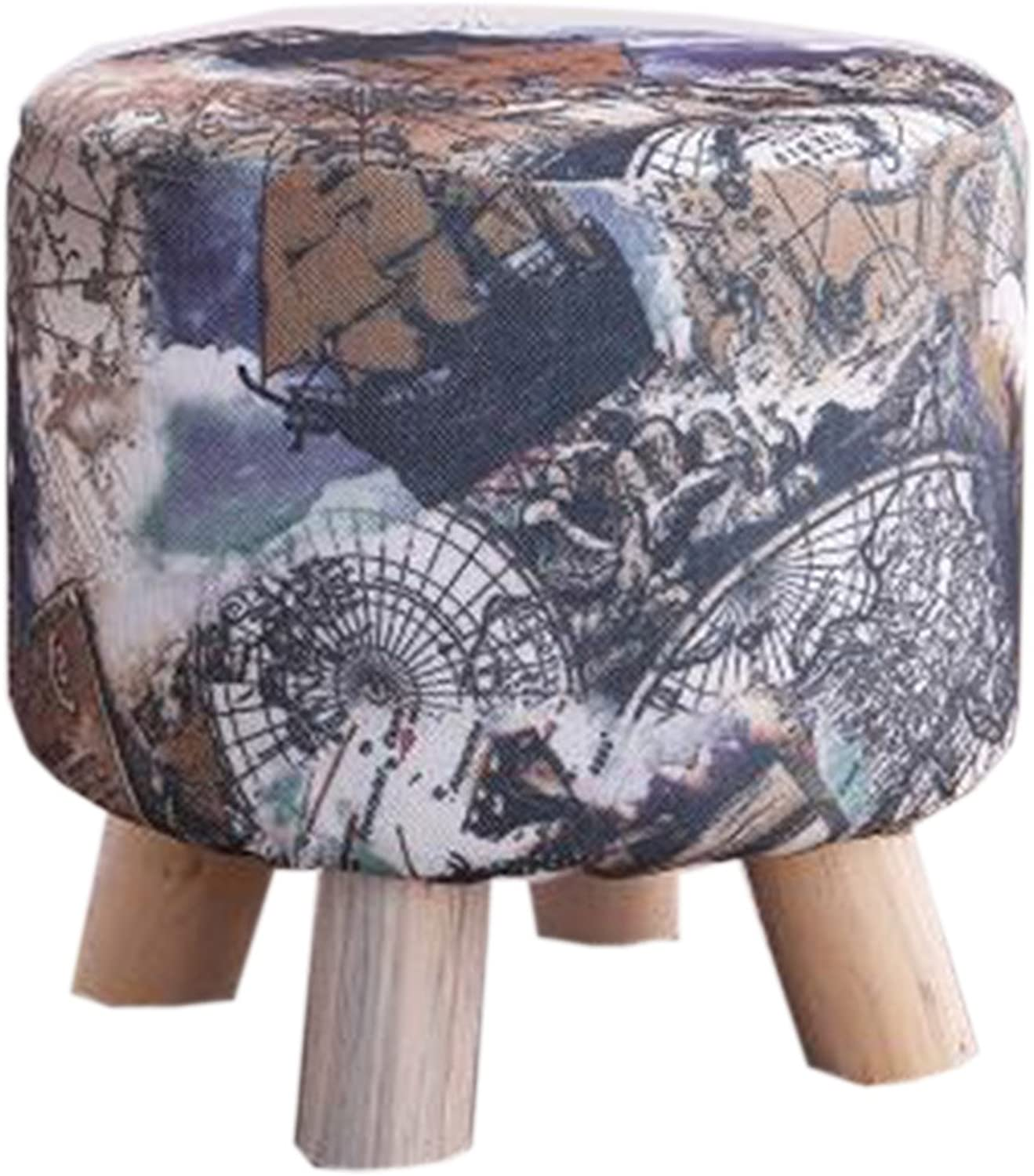 Creative Round Wooden Footstool Linen Foot Rest Stool Adult Kids Applicable   3