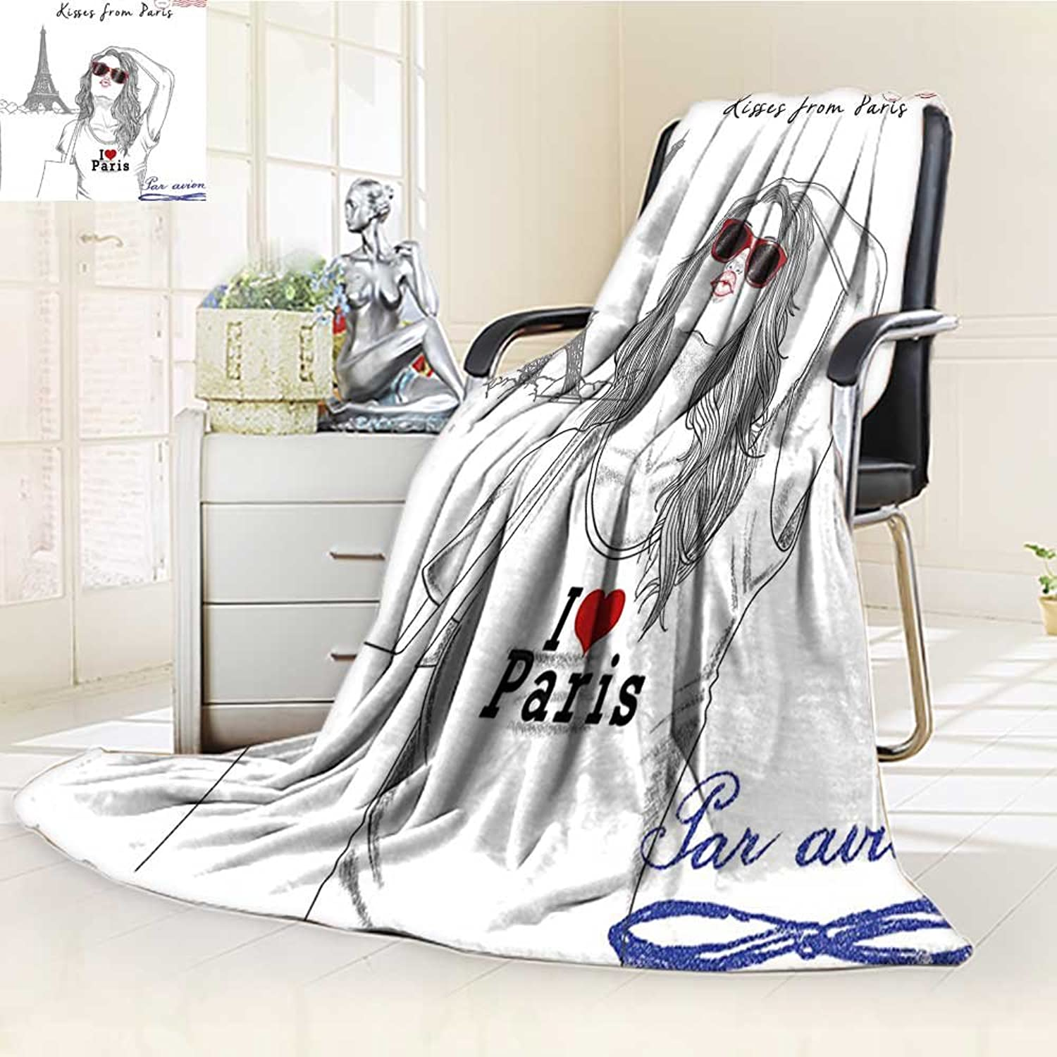 YOYI-HOME Throw Duplex Printed Blanket from Paris A Girl with Sunglasses Posing in fornt of Eiffel Tower Red White Warm Microfiber All Season Blanket for Bed or Couch  W59 x H39.5