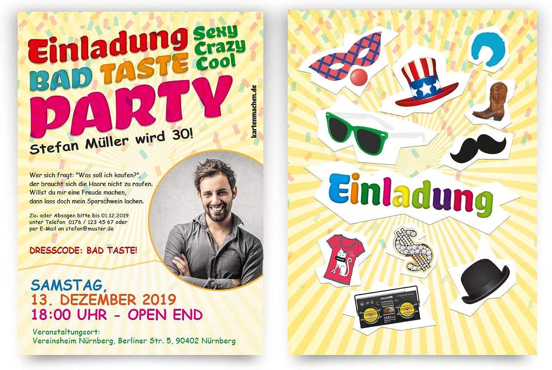 50 x Geburtstag Einladungskarten individuelle Einladungen - Bad Bad Bad Taste Party mit eigenem Foto B07N1R3BXB | Hohe Qualität und geringer Aufwand  cfe554