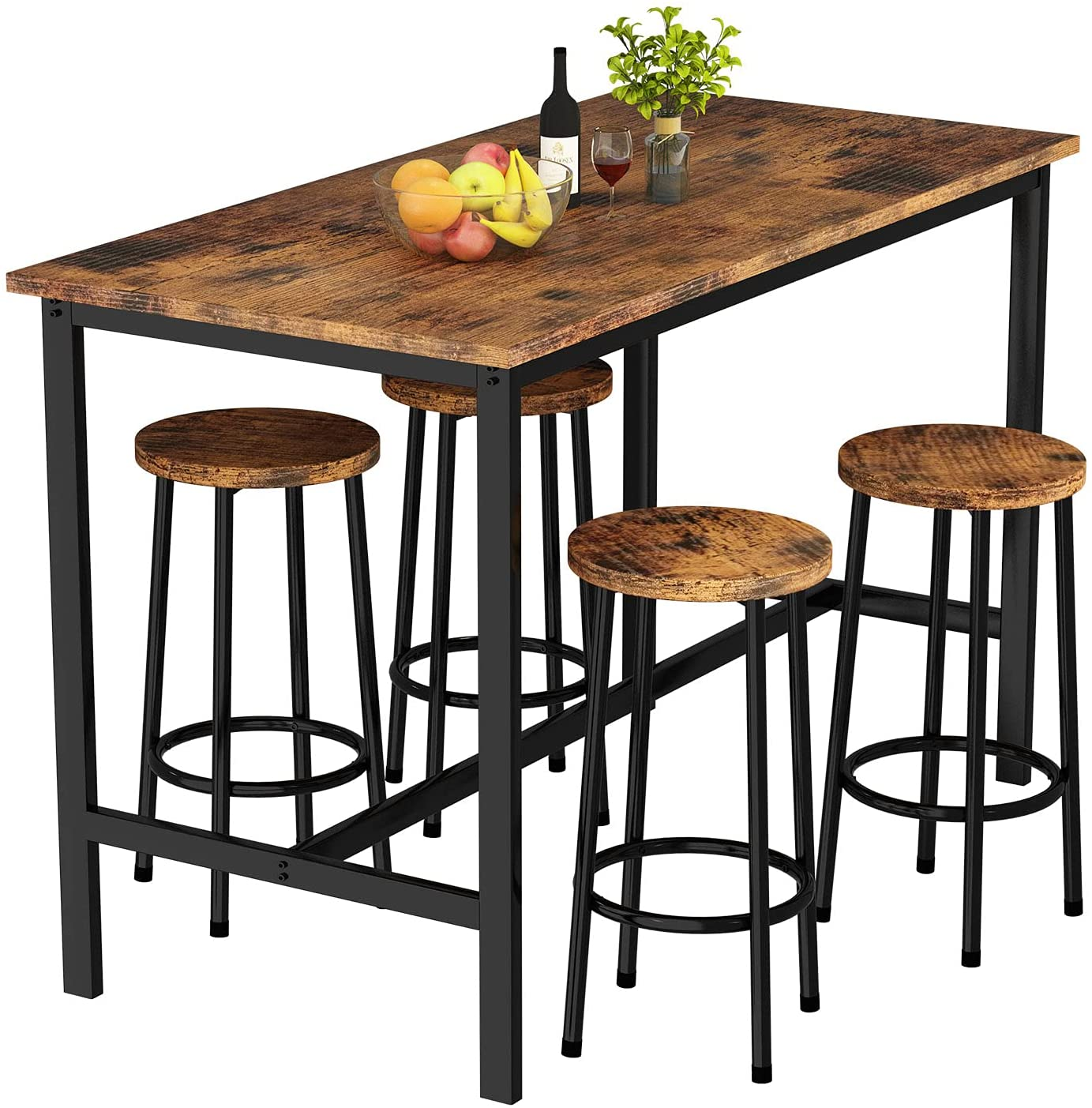 Buy AWQM Bar Table and Chairs Set Industrial Counter Height Pub ...