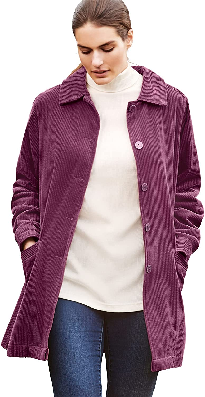 Woman Within Women's Plus Jacket Oklahoma City Mall Pleat-Back Size Corduroy Rare