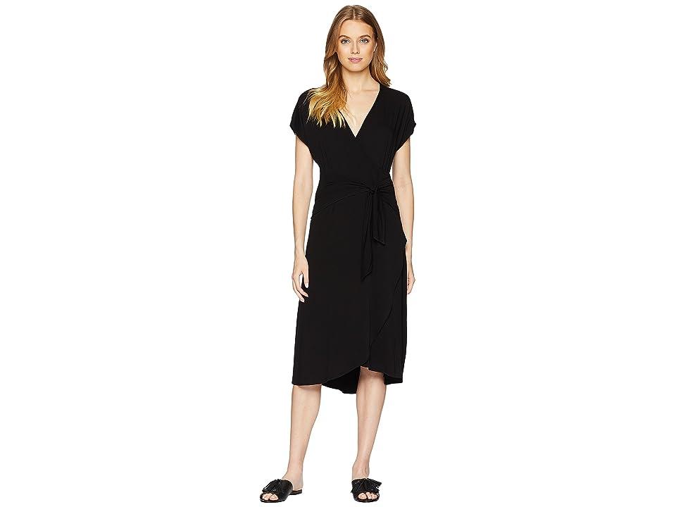 Michael Stars Rylie Rayon Tie Waist Dress (Black) Women