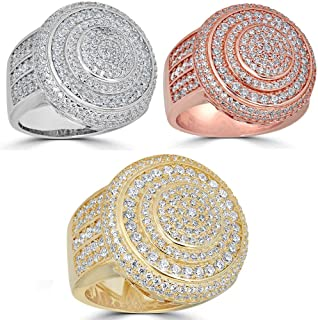 Harlembling Solid 925 Sterling Silver Men's Ring Iced Out Ring - Yellow, Rose, Or Natural Silver - ICY Hip Hop Round Cluster Ring
