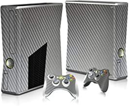 Protective Carbon Fiber Decal Skin Stickers For Xbox 360 slim Console+ 2 Controllers,Silver