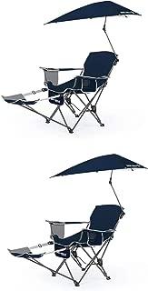 Sport-Brella Umbrella Recliner Folding Chair, Blue (2 Pack)