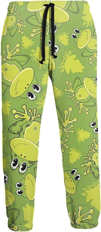 Mens Elastic Waist Sweatpants Cute Cartoon Frogs Joggers Sweatpants for Gym Training Sport Pants