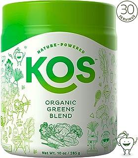 KOS Organic Greens Blend | Amazing Tasting Alkalizing Green Superfood Powder | Hydrating, Digestive Prebiotic Green Juice Powder | Plant Based Ingredients, 285g, 30 Servings