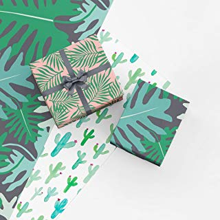 Botanical Gift Wrap Collection, 9 Folded Sheets of Wrapping Paper with Palm Leaves, Monstera Leaves, and Saguaro Cactus, Easy to Store Folded Wrapping Paper, Made in America by Revel & Co