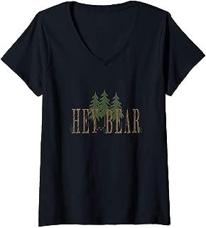 Womens Hey Bear wilderness V-Neck T-Shirt