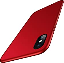 Meifigno Slim Fit iPhone X Case/iPhone Xs Case, Ultra Thin Hard PC Cover Matte Finish Case with Soft Microfiber Lining Designed for iPhone X 2017 /iPhone Xs 2018, 5.8 inch, Red