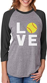 Love Softball - Gift for Softball Fans 3/4 Women Sleeve Baseball Jersey Shirt
