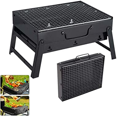 ETE ETMATE BBQ Grill, Portable Barbecue Charcoal Grill, Foldable Outdoor Small Grill for Courtyard, Garden, Camping