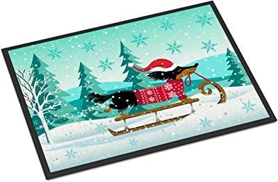 Caroline's Treasures Merry Christmas Dachshund Door Mat, Multicolor