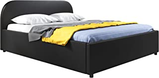 MUEBLES BONITOS Lit Double avec canapé Lexy Noir (160x200cm)