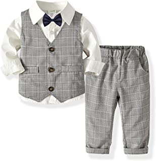 Little Boys Gentleman Formal Suit Set with Vest, Pant, Shirt, and Bow Tie,Baby Boys Long Sleeve Wear Weding 4Pcs Outfit
