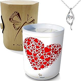 ArtGosse - Vela con joya decorada con cristales de Swarovski® • 2 mechas de cera vegetal perfumada manzana de amor • Caja ...