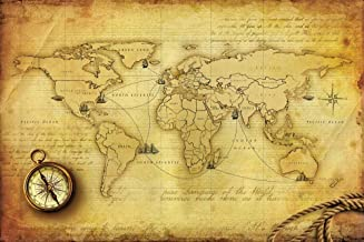 Walls and Murals Vinyl World Map Wall Paper,66 X 99 cm, Multi-coloured