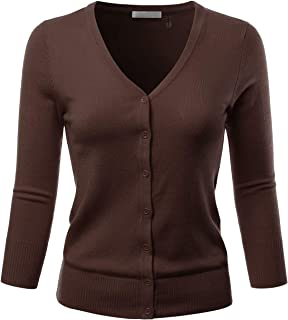 EIMIN Women s 3 4 Sleeve V-Neck Button Down Stretch Knit Cardigan Sweater ( 05b36ec26