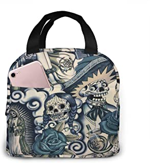 Lunch Bag Frida Kahlo Reusable Insulated Lunch Tote Bag for Adult Lunch Container Food Meal Cooler/Warm Box Storage Holder with Zip Pocket for Boys School