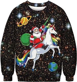 51e0b4912a Siennaa Pull Moche Noël Homme Imprimé Créatif Wapitis Renne Elfe Cerf Père  Noël Ciel étoilé Unisexe