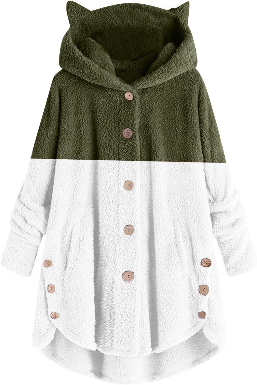 2021 Women Casual Sherpa Fleece Cat Ears Jacket Hoodies Button Faux Fuzzy Long Sleeve Fluffy Fleece Sweatshirt Coat