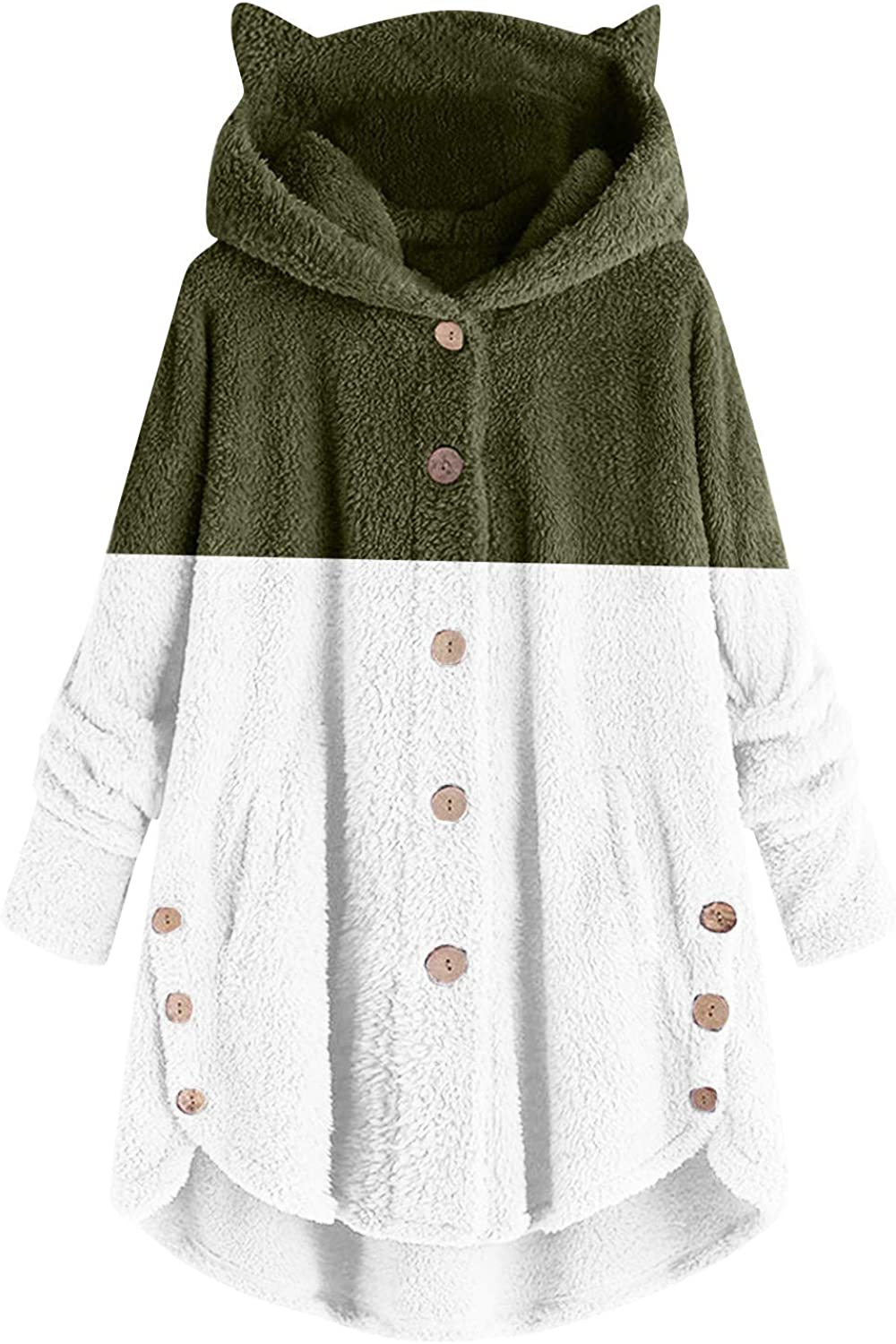 HGWXX7 Womens Jacket Cute Buttons Down Faux Fur Cat Ear Hoodies Long Sleeve Plus Size Winter Coat with Pocket Army Green