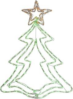 "Hofert 25"" LED Green and Orange Rope Light Christmas Tree Window Decoration"