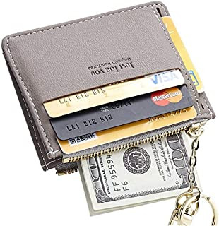 Girls Leather Card Case Wallet/Coin Change Purse with Key Ring(Grey)