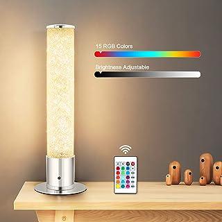 Lámpara de mesa LED ajustable Oraymin con efecto brillo, 6W 480LM 16 colores, lámpara de noche con control remoto RGB, transparente en plata
